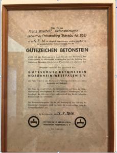 Mitgliedsurkunde aus dem Jahr 1966
